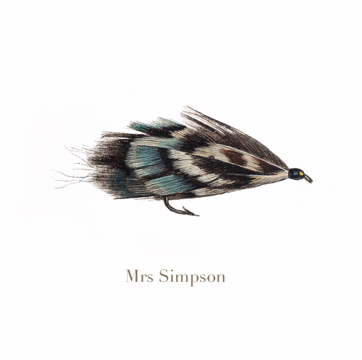 Mrs Simpson, trout fly, watercolour painted by L.C. Smith